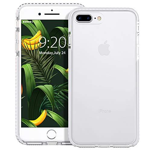 MATEPROX Cover iPhone 8 Plus, Cover iPhone 7 Plus, Custodia Protezione Slim Anti Scivolo Anticaduta Anti-shocke Antiurto AntiGraffio Antiurto Posteriore Trasparent Cover per iPhone 8/7 Plus-Bianco