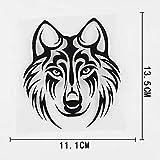A/X 11.1CMX13.5CM Cartoon Wolf Head Tribal Tattoo Vinyl Car Sticker 13C-0099 Black