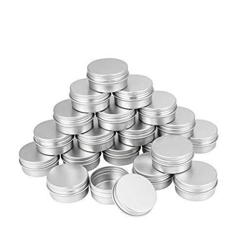 XYDZ 20 Pièces Pots en Aluminium, 5ml Rond Canettes en Aluminium avec Couvercle à Vis, Boîte en Métal Mini Portable pour Stockage de Voyage