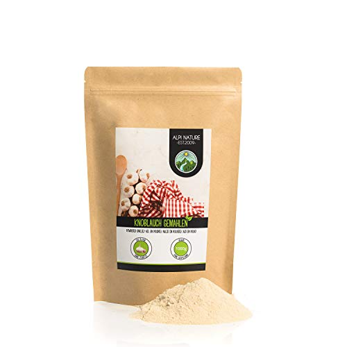 Ajos en polvo (1kg), ajo molido, especia 100% natural de ajo suavemente secado, ajo en polvo naturalmente sin aditivos, vegano