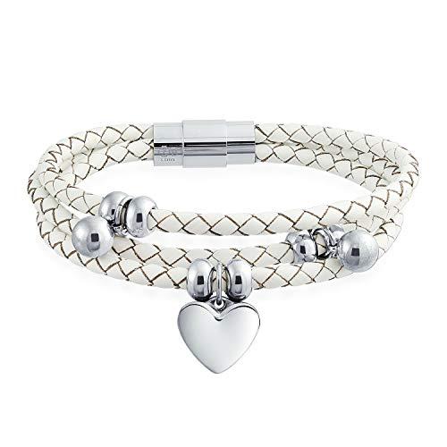 Bling Jewelry Baumelnde Herz Charms Weiß Triple Strand Geflochtenlederarmband Für Frauen Für Freundin Edelstahl