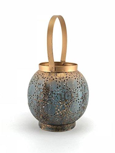 Crispe home & garden Orientalisches Windlicht aus Metall Mumbai - Türkis mit Übergang zu Gold - mit Goldschimmer - mit Henkel aus Metall - Laterne Höhe 16,5 - Ø 16 cm - Höhe mit Henkel 28,5 cm