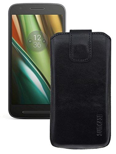 Original Suncase Etui Tasche für Lenovo Moto E3 | mit ZUSÄTZLICHER Hülle / Schale / Bumper *Lasche mit Rückzugfunktion* Handytasche Ledertasche Schutzhülle Hülle Hülle in schwarz