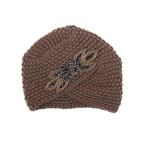 FENICAL Gorra Otoño Invierno Sombrero de Punto de maíz con Punto de Cruz Sombrero Indio para Damas Tamaño Libre (Caqui) (Ropa)