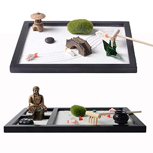 FDQNDXF Kit de Jardin Zen Japonais 2 pièces, Mini Table de Sable de Jardin Zen de Bureau Fait à la Main, Cadeaux Uniques de soulagement du Stress pour Adultes pour la décoration de Bureau