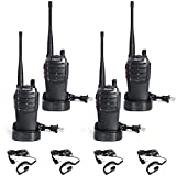 Olywiz Walkie Talkies for Adults Long Range, with Earpieces GMRS Radio Rechargeable 2 Way Radio with Flashlight for School Business Family 4 Pack