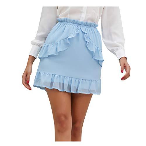 Zarupeng Mini-rok voor dames, chiffon, elegant, ruches, skater, rok met tas, elastische taille, casual business