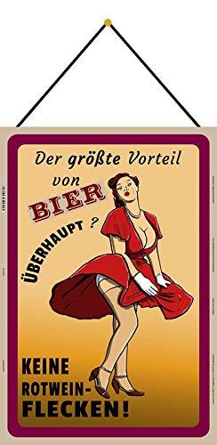 Metalen bord 20 x 30 cm gebogen met koord gebogen bier geen rode wijn vlekken spreuk decoratie geschenk bord
