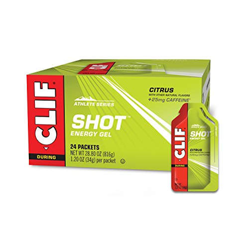 CLIF SHOT  Energy Gels  Citrus Flavor  25mg Caffeine NonGMO  Quick Carbs amp Caffeine for Energy  High Performance amp Endurance  Fast Fuel for Cycling and Running 12 Ounce Packet 24 Count