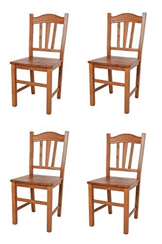 Tommychairs - Set 4 sedie modello Silvana per cucina bar e sala da pranzo, robusta struttura in legno di faggio color ciliegio e seduta in legno