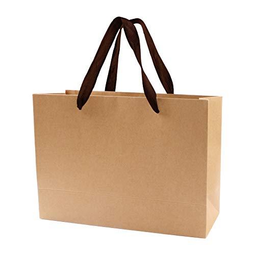 Daskuchi 手提げ紙袋 紙袋 手提げ ラッピング 袋 ギフト、プレゼント、クラフト 紙袋 環境に優しい 紙袋 10枚 紙袋 高級 ラッピング 袋 特大 柔らかい布の取っ手 高級パーティー袋、ショッピングバッグ、小売袋、商品袋、結婚パーティーバッグ ギフトバッグ (32*11*27cm)