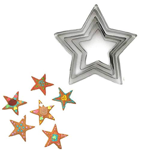 5pcs/set Five-pointed Star and Dog Cookie Cutter 3d Fondant Cake Decorating Tools Pastry Biscuit Baking Mold for Kitchen