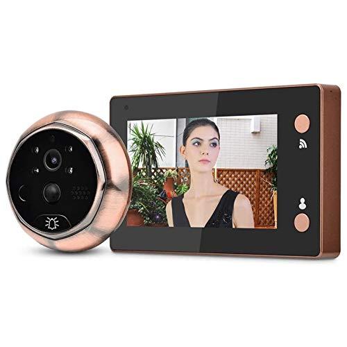 Timbre con Video, con Pantalla de 4.3in 720P HD 1MP Pixel, Monitor de Cámara con Visor PIR, Visión Nocturna de Almacenamiento en la Nube (Color : Gold, Size : 135x82x15mm)