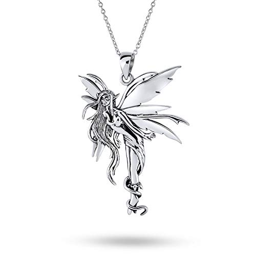 Firefly Fairies Pixie Angel Tinkerbell Fairy Pendant Necklace For Women For Teen Oxidized 925 Sterling Silver