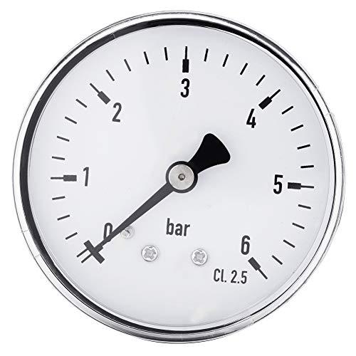 Oumefar 1-teiliges Mini-Hochpräzisions-Manometer für Kraftstoff, Luft, Öl, flüssiges Wasser 0-6 bar 1/4 Zoll NPT-Gewinde an Mehreren Stellen im Innen- und Außenbereich