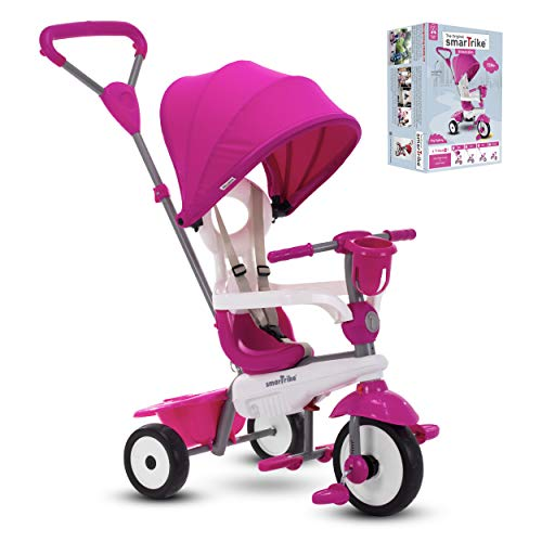 smarTrike Breeze Plus Toddler Tricycle Stroller Push Bike – Adjustable Trike for Baby, Toddler, Infant Ages 15 Months to 3 Years (Princess Pink)
