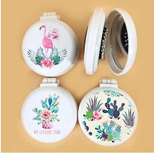 PiniceCore Flamingo Travel Falt-Kamm Spiegel Haarbürsten Airbag Massage Faltbare Tasche Mini Round Easy-nehmen Kamm-Haar-Bürste