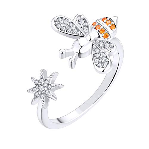 FJ Sterling Silver Bee Ring, Bee Your Star Ring with AAA CZ Open Ring, For Her