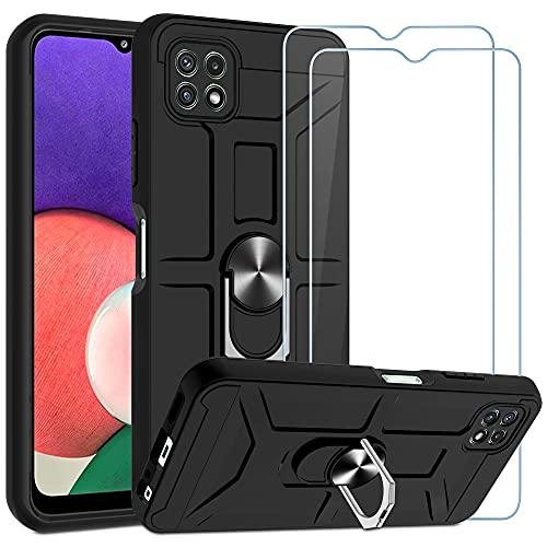 CACOE Hülle Kompatibel mit Samsung Galaxy A22 5G, 2 Stück Panzerglas Schutzfolie, A22 Handyhülle 360 Grad Drehung Fingerring Ständer Ständer Schutzhülle Schwarz
