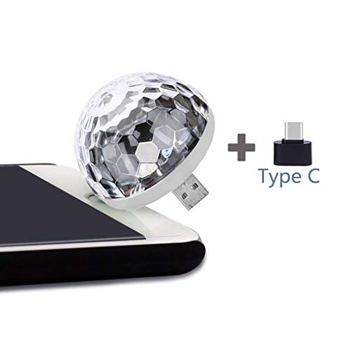 AmyGline LED-Discokugel, Mini-USB-Musik-LED-Party-Licht Bunte Lichteffekte Licht Bühnenbeleuchtung Kristall Magic Ball (A)
