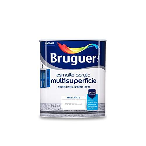Bruguer Acrylic Multisuperficie Esmalte al agua - Pintura 750 mL, Brillante Blanco Permanente