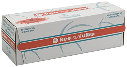 KEE-SEAL ULTRA Disposable Pastry Bags, Piping Bag with Non-Slip Outer Surface, Smooth-Flow Interior, Easy Tear Perforation, Convenient Dispenser Box, 21-Inch, Clear