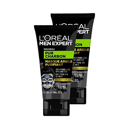 L'Oréal Men Expert - Masque Argile Purifiant Visage pour Homme - Pur Charbon - 50 ml - Lot de 2