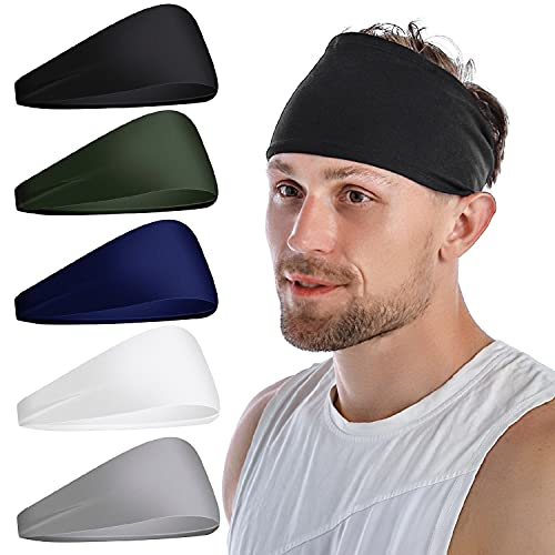Attikee Mens Headbands (5 Pack), Sports Headband Athletic Mens Sweatband Non Slip Head Band for Men, Unisex Stretchy Moisture Wicking Hairband for Gym, Running, Cycling, Yoga, Basketball, Football