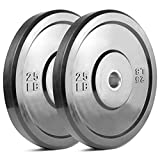 ER KANG Bumper Plates 2 inch Bumper Olympic Weight Plate with Steel Insert, Free Weight for Strength training, Weightlifting, Home Gym Workout (25lbs,Pair)