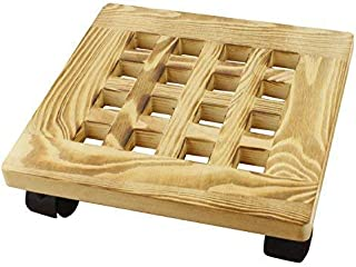 Yeme Pine Wood Square Plant Dolly / Caddy Plant Stand with Roller, 10