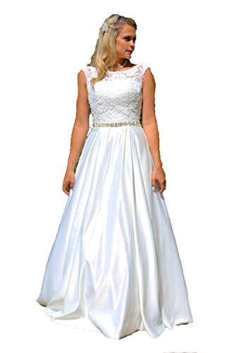 Elegantes Brautkleid Traum Spitze Hochzeitskleid A-Linie 34 bis 46 Braut Satin (40, Ivory)