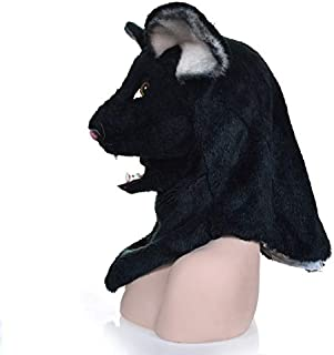 Hot Selling Realistic Animal Mask Hot Sale Handmade Halloween Party Moving Mouth Black Mouse Mask Animal Carnival Cosplay Masks Popular Animal Head Mask Animal Head Mask