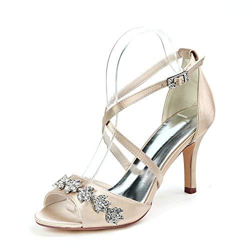 LGYKUMEG Zapatos de boda de fiesta para muje Zapato de Tacón Mujer Punta Redonda Tacón Alto Strappy Sandalias Pumps Hebilla Satén Cordones Zapatos de Novia,D,US5.5/EU36/UK3.5