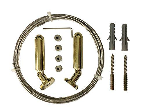 tilldekor Seilspanngarnitur Flexo-LINE, Messing-Glanz, 5 Meter, beliebig kürzbar, Deckenmontage möglich, inkl. Befestigungsmaterial