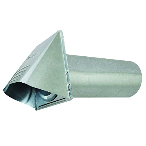 """Deflecto Dryer Vent, Wide Mouth Galvanized Vent Hood with Pipe, Silver, 4"""" (GVH4NR)"""