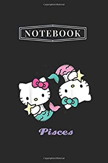Notebook: Hello Kitty Zodiac Pisces Notebook White Paper Blank Journal with Black Cover Medium Size 6'' x 9'' with 110 Pag...