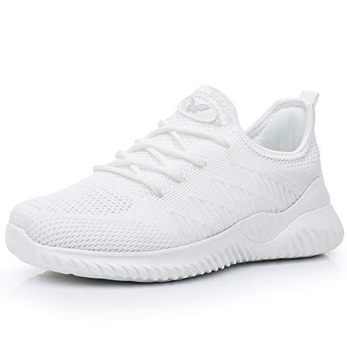 JARLIF Women's Memory Foam Slip On Walking Tennis Shoes Lightweight Gym Jogging Sports Athletic Running Sneakers White 8.5 B(M) US