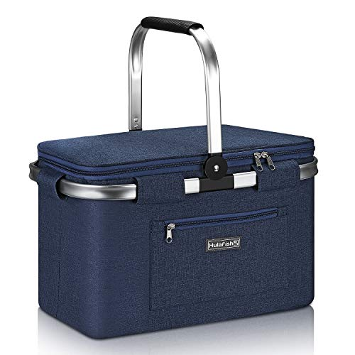 HulaFish Foldable Insulated Picnic Basket with lid 32L Extra Large Insulated Bag for Picnic, Food Delivery, Take Outs, Grocery Shopping, and as Cooler Bag. Foldable Design Compact for Storage