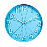 Relojes de Pared Fashion Stere Mute Clock Dormitorio Creative Quartz Clock (Color: Blue)