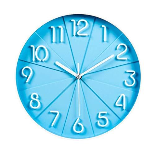 CFSAFAA Reloj de Pared Moda Stere Reloj de Silencio Dormitorio Cuarzo Creativo Reloj Reloj colgado en la Pared (Color : Blue)