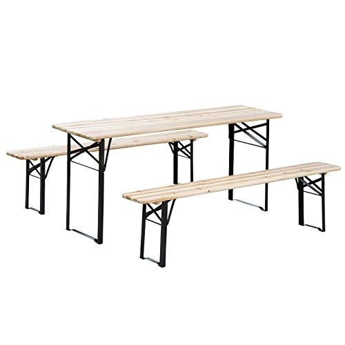 Outsunny 6' Wooden Folding Picnic Table Bench Set Outdoor
