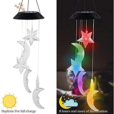 """MorTime LED Solar Moon and Star Wind Chime, 25"""" Mobile Hanging Wind Chime for Home Garden Decoration, Automatic Light Changing Color(Moon & Star)"""