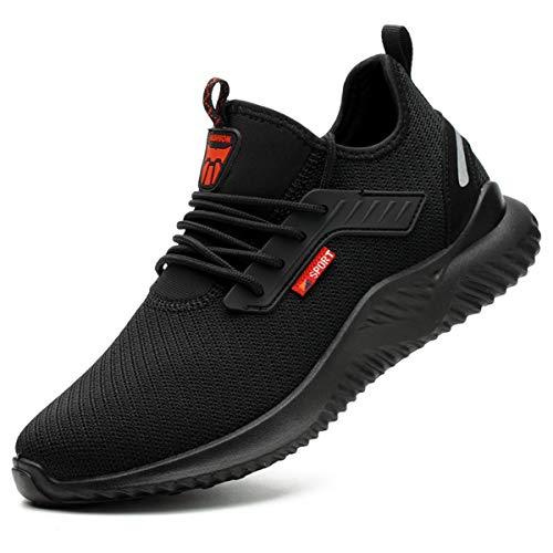 [tqgold] 安全靴 スニーカー 作業靴 メンズ レディース ハイカット ブーツ 鋼先芯 KEVLARミッドソール 軽量 通気性 防滑 耐摩耗 クッション性 おしゃれ 男女兼用 大きいサイズ (ブラック 28.0cm)