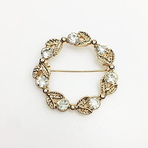 HCMA Esmalte Pin Broches de Perlas de Color Dorado para Mujer Bufanda Hebilla Pin de Solapa y Broche Joyería Accesorios de Ropa de Lujo
