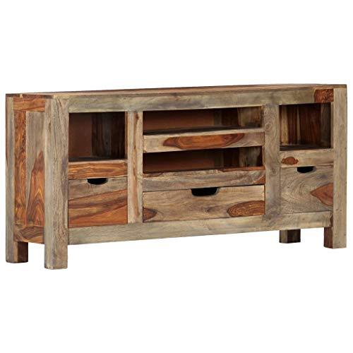 vidaXL Sheesham-Holz Massiv Sideboard mit 3 Schubladen 4 Fächern TV Schrank Lowboard Fernsehschrank Fernsehtisch Grau Palisander 100x30x50cm