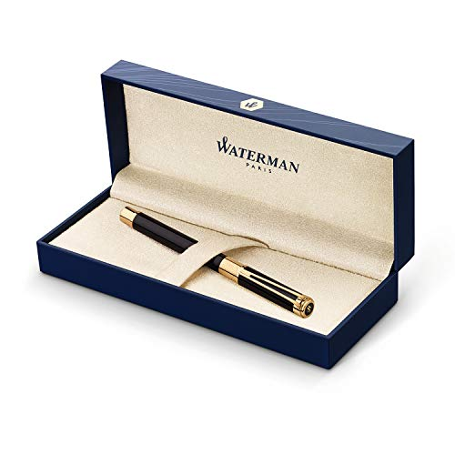Waterman Perspective Fountain Pen, Gloss Black with 23k Gold Clip, Fine Nib with Blue Ink Cartridge, Gift Box