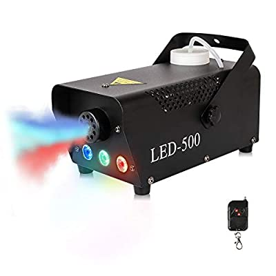 Fog Machine Portable Smoke Machine 500W with Wireless Remote Control RGB Color LED Lights, Fog Machine Fluid Stage Equipment for Wedding Party Festival Halloween Christmas DJ Disco Stage Effect