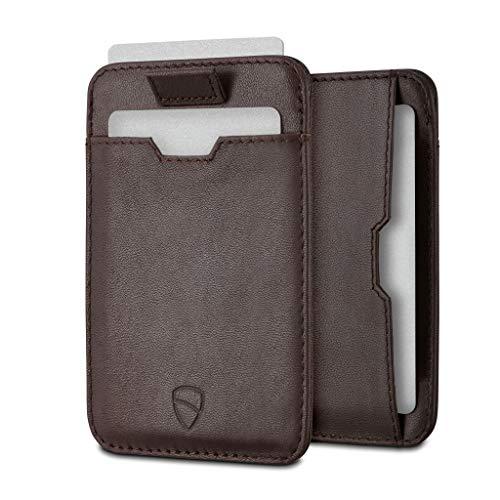 Vaultskin CHELSEA - Portafoglio minimalista da uomo in pelle con blocco RFID, tasca frontale porta carte di credito (Marrone)