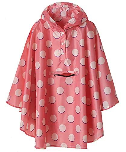 SaphiRose Kids Lightweight Jacket Waterproof Outwear Raincoat,Pink Polka Dot,XL
