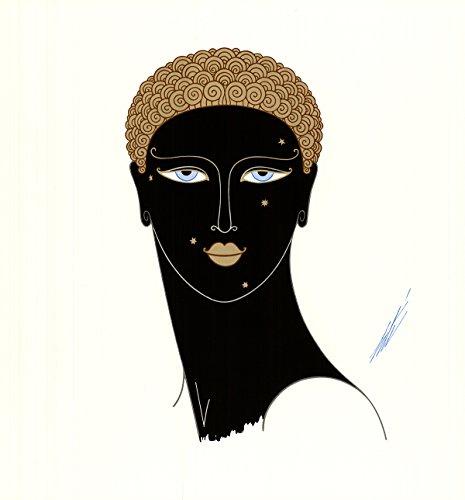 Erte Queen of Sheba 16.5' x 15.5' Poster 1979 Art Deco Brown, Black, White Woman, Face, Moles